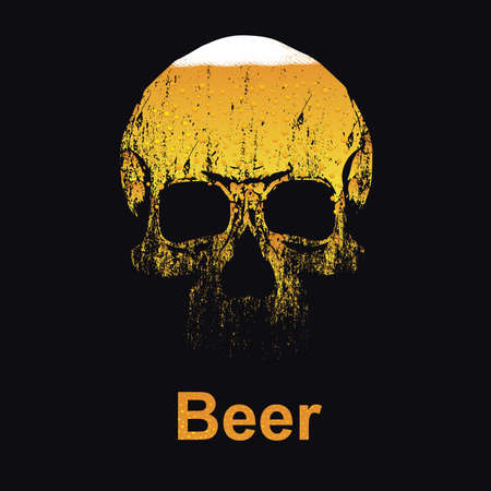 vector drawing of skull with beer inside. Illustration for poster against alcoholism.