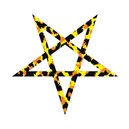 vector illustration of animal print pentagram isolated on white. 向量圖像