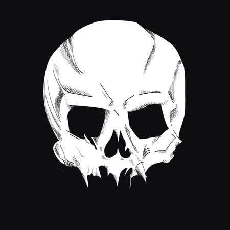 Skull vector drawing isolated on black for t-shirts or posters