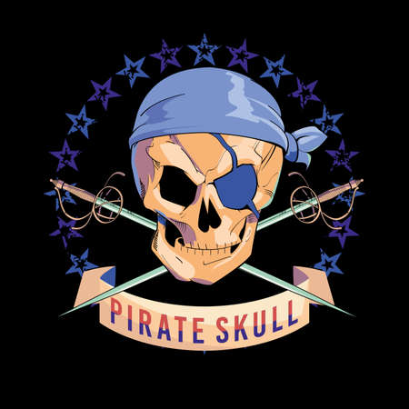 Vector illustration of pirate skull, with eye patch and two crossed swords on black background. Pirate flag design for poster or t-shirt. Stock Illustratie