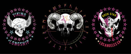 Set of three illustrated skulls. Vector drawings of heads for t-shirts or posters.