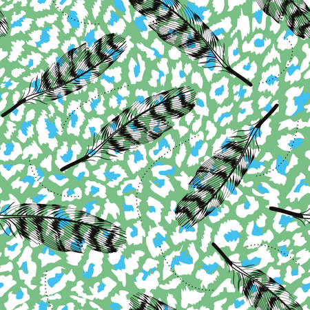 pattern of feathers in different positions on blue background