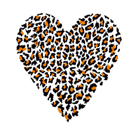 T-shirt design with vector illustration of a animal print heart isolated on white