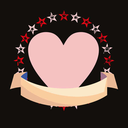 vector illustration of a pink heart and stars isolated on black.