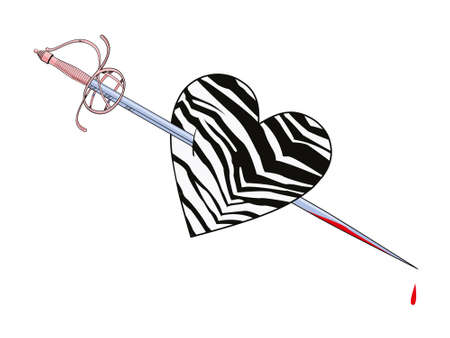 Vector illustration of an animal print heart pierced by a sword on white