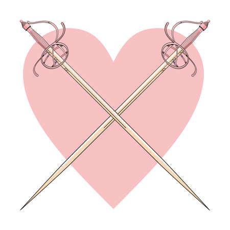 Vector illustration of two crossed swords over a pink heart.
