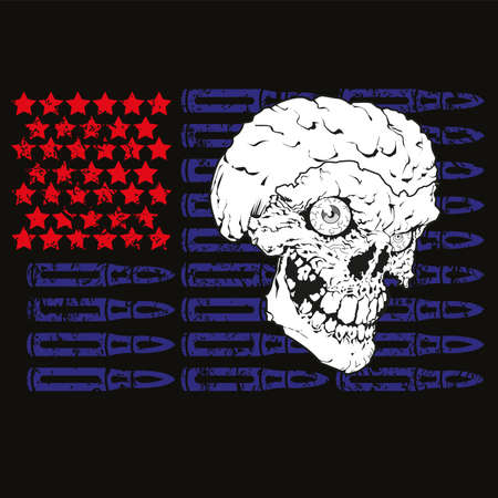 Vector illustration of a skull with horns on a usa flag on black background. Badge with red stars and blue bullets.