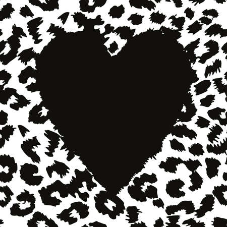 continuous design with a black heart on an animal print background. Textile design in black leopard print.