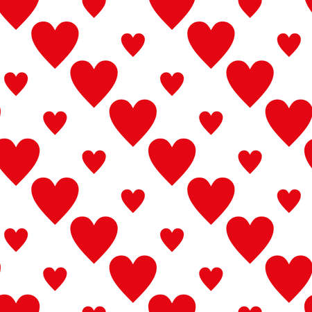 Continuous design of red hearts on white background. Pattern Seamless for Valentine's Day