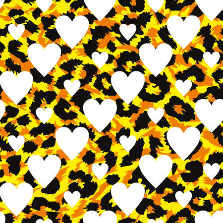 Continuous design of white hearts on animal print background.Pattern seamless for textile design.