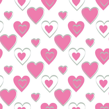 Continuous design of pink hearts on white background. Pattern Seamless for Valentine's Day