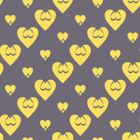 Continuous design of golden hearts on gray background. Pattern Seamless for Valentine's Day