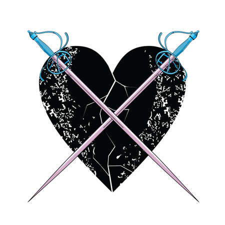 vector illustration of two crossed swords over a black heart.