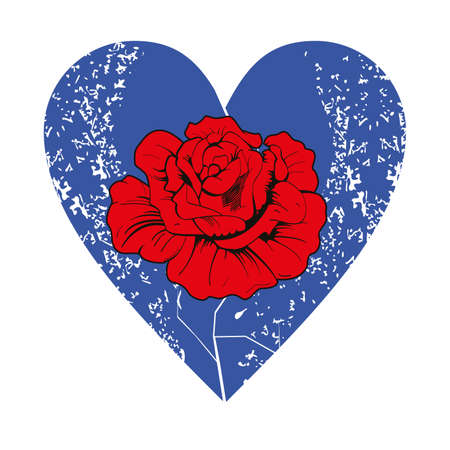 Vector illustration of a red flower inside a blue heart, on white background. Romantic image for Valentine's Day.