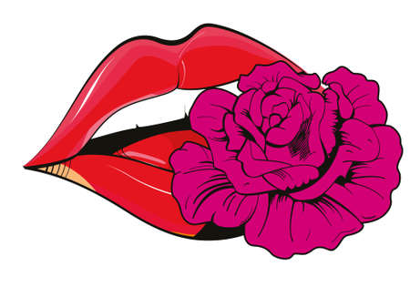 Vector illustration of red lips with a flower isolated on white. Sensual design for t-shirts.