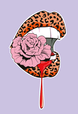 Vector illustration of animal print lips biting a pink flower. Vertical design for t-shirts or posters.