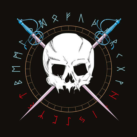Vector illustration of a skull with two swords on a circle with runic alphabet. Pirate symbol for t-shirts and posters. 向量圖像