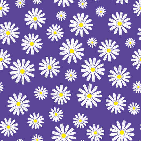 Vector flower seamless on violet background. Continuous design for textile industry