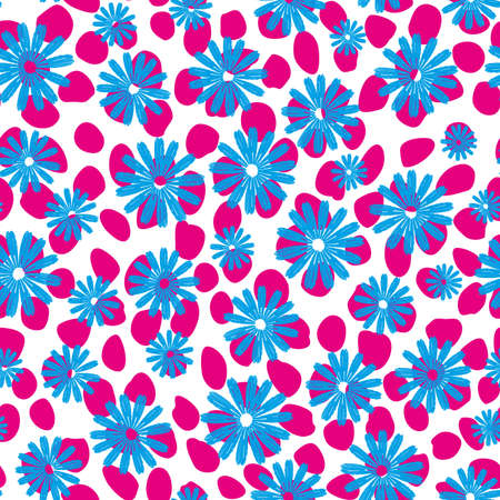 Vector flower seamless on dotted background. Continuous design for textile industry 向量圖像