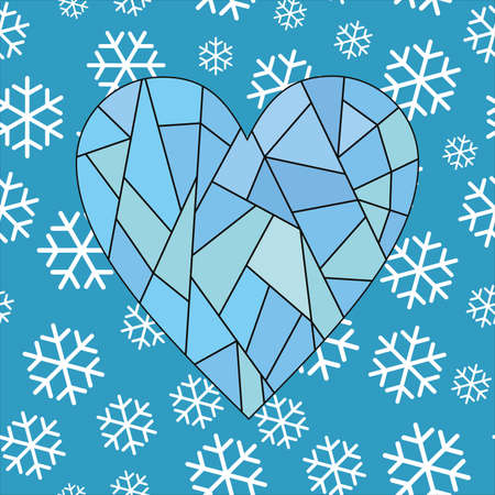 vector illustration of a frozen heart suspended on a winter background. Design for winter and christmas 向量圖像