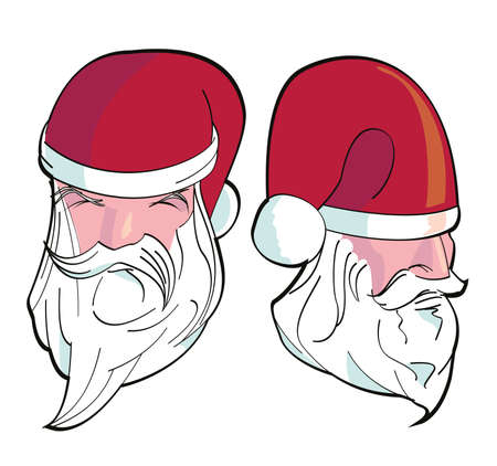 Set of two illustrations of Santa Claus on white background. Characters designed for Christmas celebration. 向量圖像