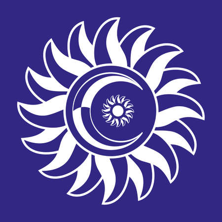 Vector illustration of a sun with a moon isolated on blue. Solar symbol for t-shirt.