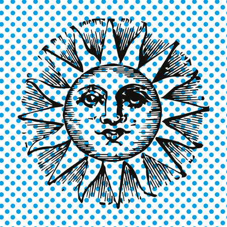 Vector illustration of the sun with a human face on celestial dots 向量圖像