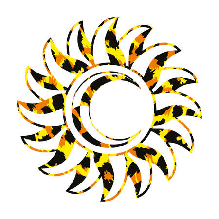 Vector illustration of a sun with a moon with animal texture isolated on white.
