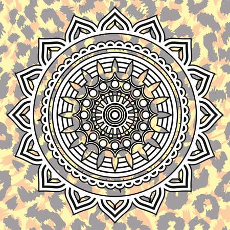 Vector illustration of a white mandala on animal print