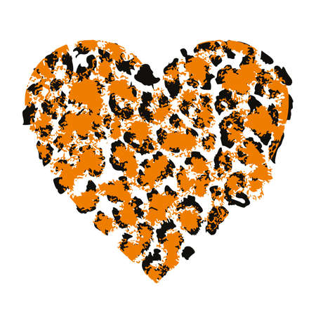 T-shirt design with vector illustration of a animal print heart isolated on white 向量圖像