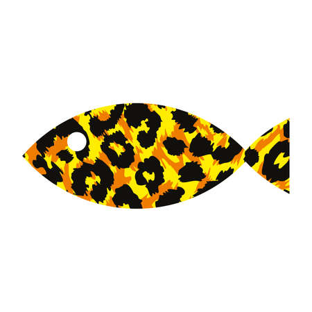Vector illustration of a animal print fish isolated on white