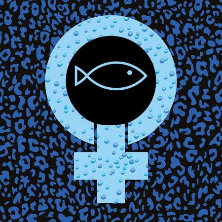 Schematic drawing of a cross, circle and a fish. Symbol of the feminist struggle. Symbol of early Christianity. 矢量图像