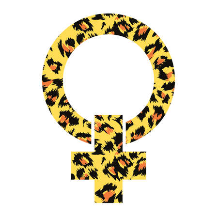 Vector illustration of symbol of feminist struggle in animal print isolated on white.