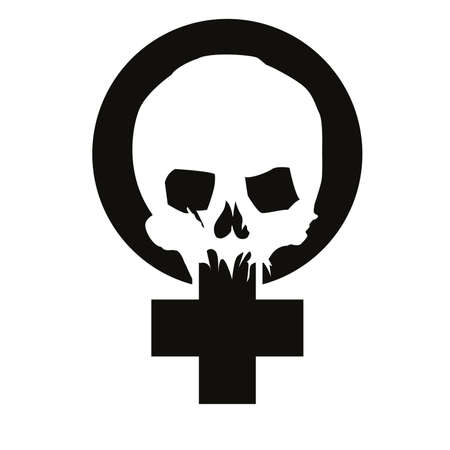 Vector illustration of the feminist symbol with a skull isolated on white. Design for posters of social struggles.