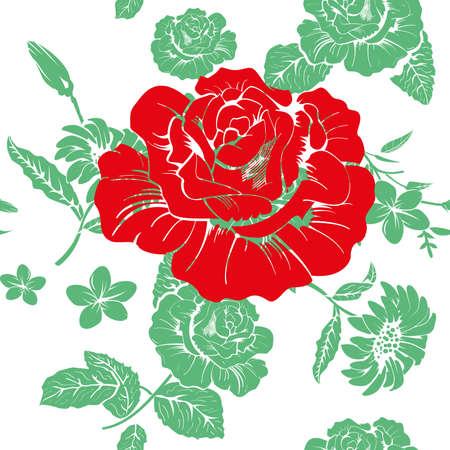 Floral design seamless pattern. Vector illustration of big red flower on floral background.