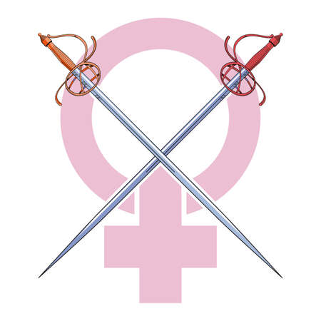 vector illustration of two crossed swords over a pink feminist struggle.