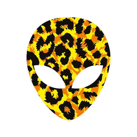 vector illustration of an animal print alien head isolated on white