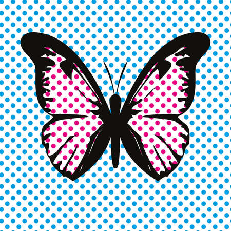 Vector illustration of a butterfly in pop art style. Pop design for t-shirts 向量圖像