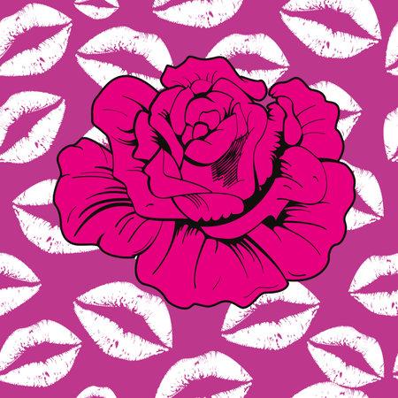 Vector illustration of a pink flower on kisses background. Seamless pattern for Valentine's Day textile design. 矢量图像