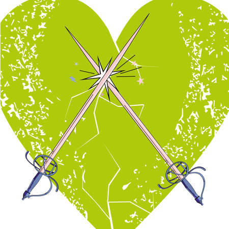 vector illustration of two crossed swords over a green heart. Romantic design for Valentino's day t-shirts or posters.