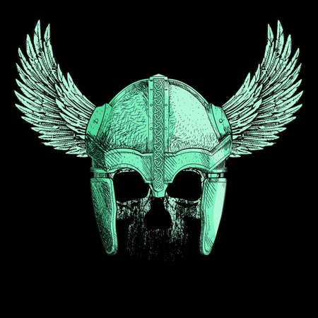 Vector illustration for human skull t-shirt with viking helmet whit wings on black background