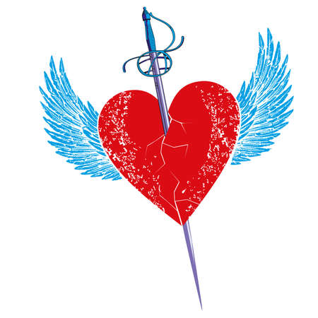 Vector illustration of a sword stuck in a winged heart isolated on white. Romantic drawing for Valentine's day t-shirts and posters.