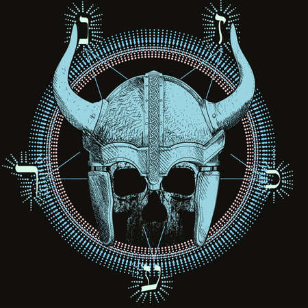 T-shirt vector design of a viking skull with horns over an inverted star and runic characters isolated on black. Poster