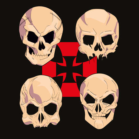 set of four skulls with medieval cross on black background. Vector illustration for t-shirts.