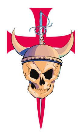vector illustration of a skull with a horned helmet on a large Templar red cross. Design for t-shirts with medieval motifs.