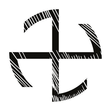 vector illustration of black cross isolated on white
