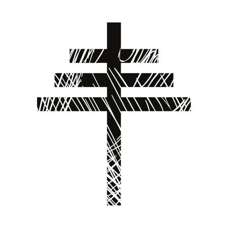 vector illustration of black papal cross isolated on white