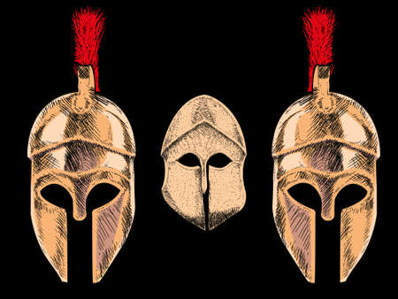 Vector illustration of three Corinthian helmets on black background. Ideal design to accompany texts on archeology and classical Greece Ilustracja