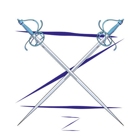 Vector illustration of two crossed fencing swords over uppercase letter Z. Ideal design for chivalry and adventure comics. 일러스트