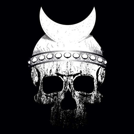 vector illustration of a skull with helmet and moon symbol on black background. Design for t-shirts or posters.